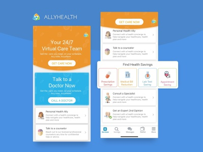 AllyHealth - Healthcare Solutions wallet message consultation saving medical prescription appointments doctor health