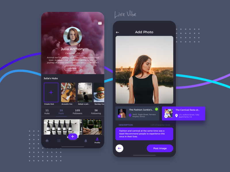 Livevibe app feed event app platform engage post real time hub photo business tag location fun event group meetup logo ux ui social