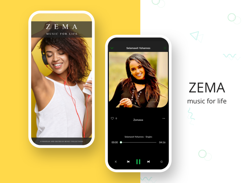Zema Music For Life uiux song playlist library artists video ethiopia player play music