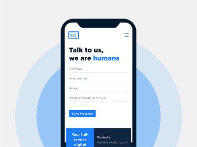 Coletiv mobile form ui website coletiv web design design contact form form mobile