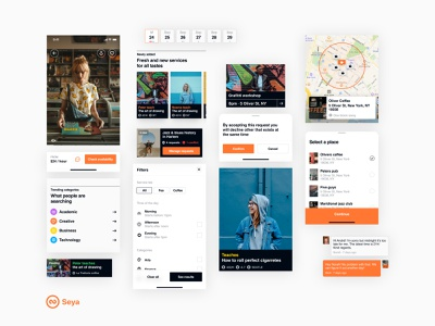 Seya – components mobile app map buttons design system calendar icons elements cards components ui user interface
