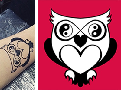 Magic Owl love yinyang balance tattoodesign vector avatar illustration owl