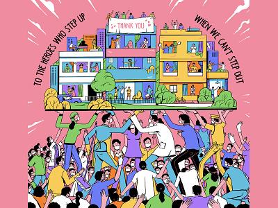 Thank You 🌺 love support people nurse doctor earth world thankyou 2020 virus corona design art illustration