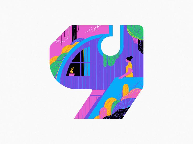 9 9 2020 logo branding home garden typography series design art illustration
