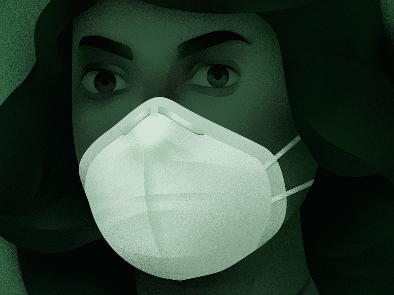 Mask coronavirus lockdown stayhome quarantine mask corona design art illustration