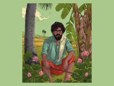 Paachu🌺 lotus culture nature sajid portrait kerala design art illustration