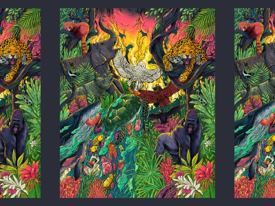 Endangered Species branding design flower gorilla owl seal whale turtle rhino elephant redpanda leopard wildlife contest wacom wwf nature design art illustration