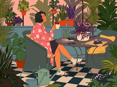 Mental Health quarantinelife quarantine love mood vibe plants coffee mental health lockdown nature art illustration