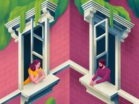 Stay Home coffee couple love home window inspirational illusion 2020 artprize procreate contest art illustration