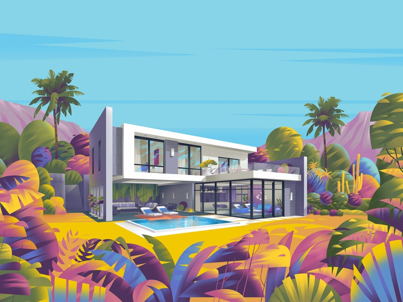 Villa villa sajid resort jebal architecture illustration