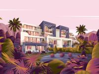 Chalets nature sajid resort jebal chalet architecture design art illustration
