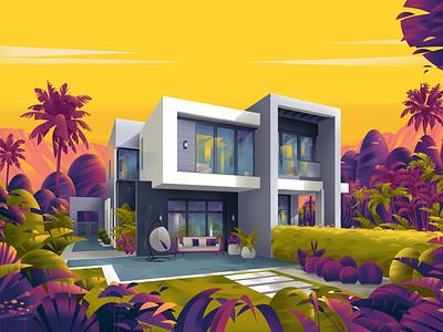 Twin House design sajid jebal architecture art illustration