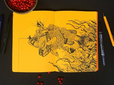 Fish fish drawing art ink inktober2020 inktober illustration
