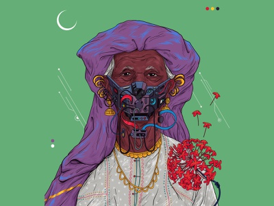 Face off mask woman kerala 2020 covid19 sajid art illustration
