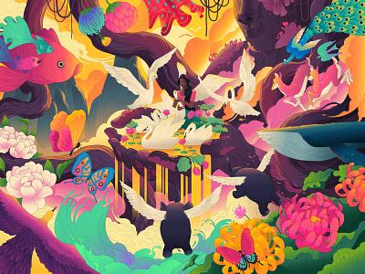 Palm of your Imagination. birds animals nature fish whale dream ipad 2020 adobe illustrator adobe art illustration