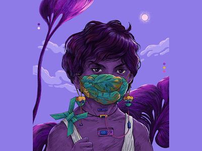 Adapt Survive Evolve childhood india sajid kid kerala 2020 covid mask design art illustration