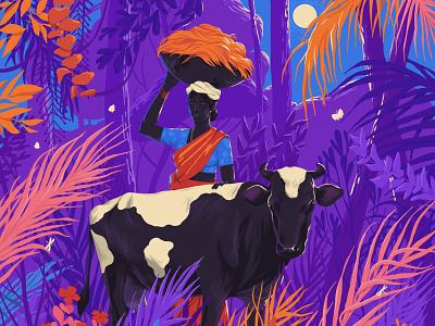 ✊🏿❤️🌺 people folks kerala standwithfarmers art illustration