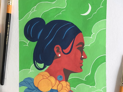 Flourish sajid process video paper painting postercolour art illustration