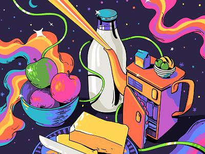 Still life - Week 67 milk breakfast colour study drawing sajid stilllife art illustration