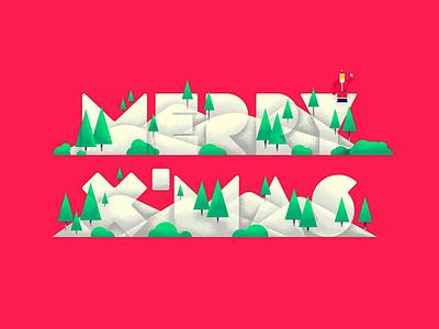 Merry x'mas santa winter illustration typography xmas merry
