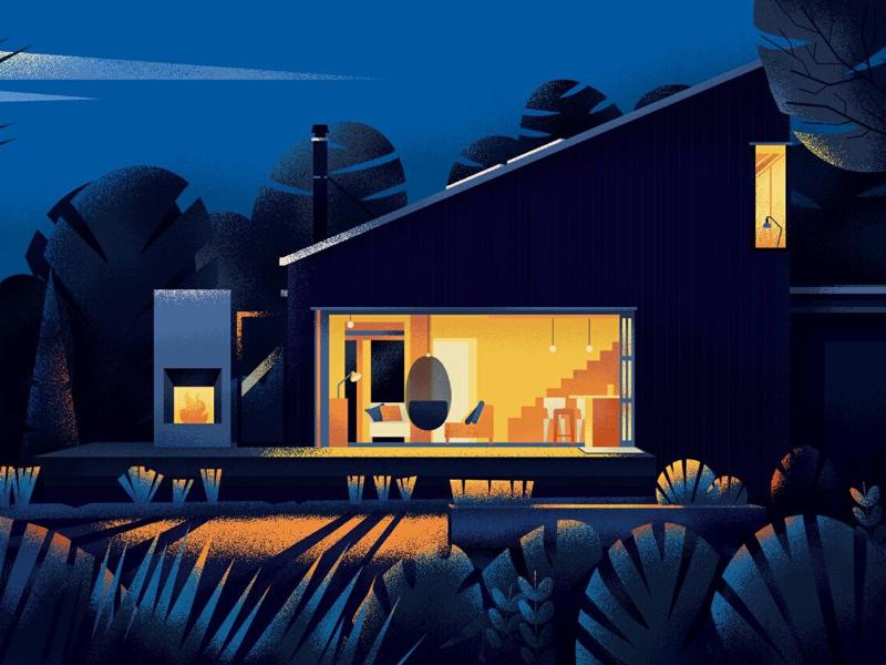 Home - 1 blue light night illustration home