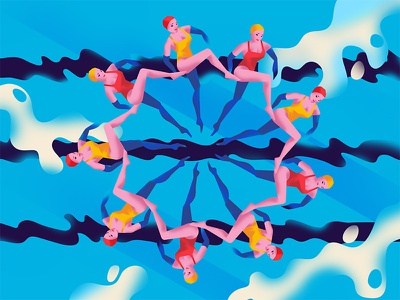 They are synchronised well! teamwork swimming illustration contest work dream the makes