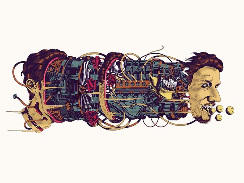 MAN - 01 rose football surreal engine human illustration machine man