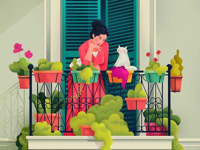 Lady on balcony home house flowers illustration balcony cat lady