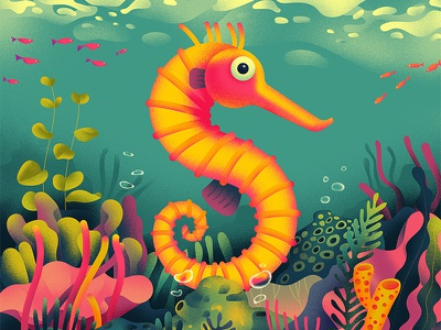 S for Seahorse plants fish sea illustration s seahorse 36daystype