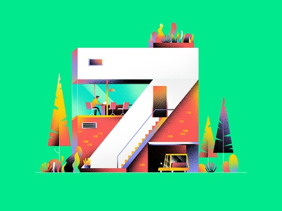 SEVEN car number 7 hiwow illustration architecture home 36daystype