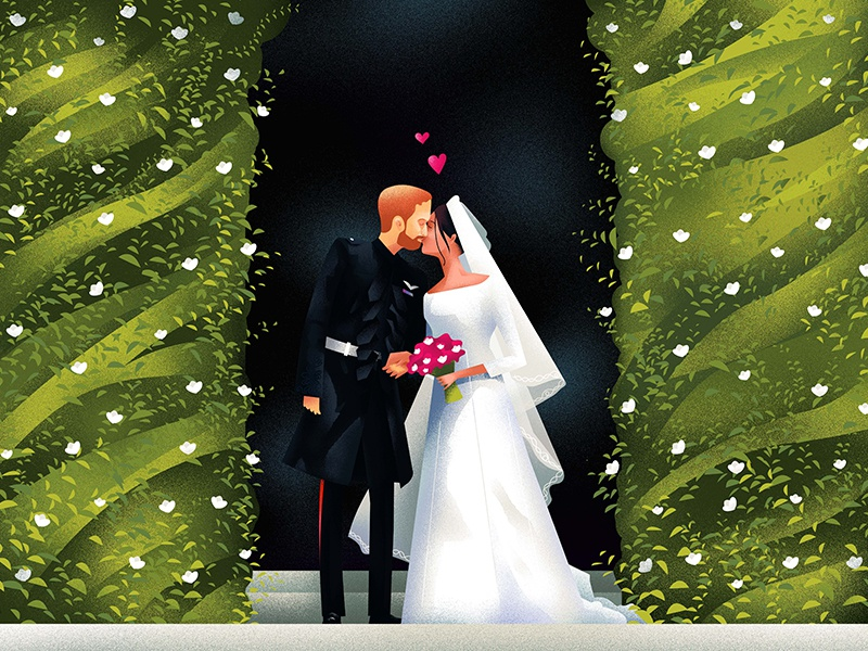 """You look"""" Amazing"""" I'm so lucky"""" illustration hiwow 2018 wedding royal meghan harry prince"""
