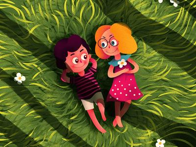 Love Birds love shade plants cute character hiwow boy girl illustration