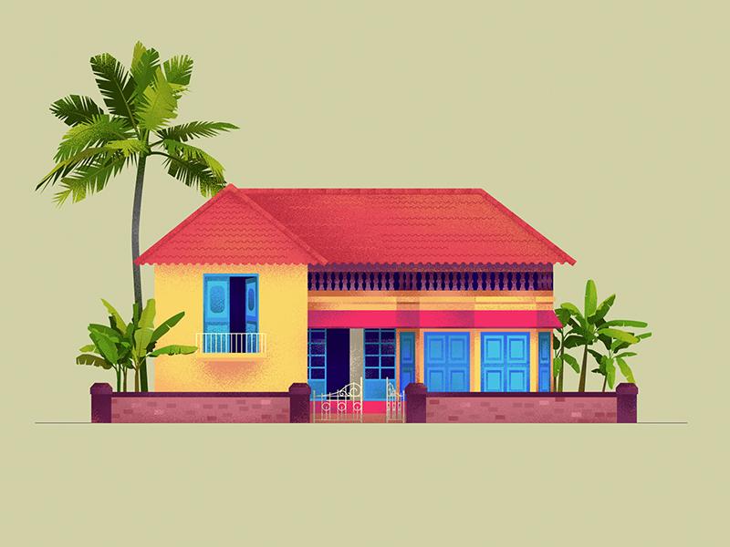 Home - 25 house kerala hiwow blue yellow series illustration home