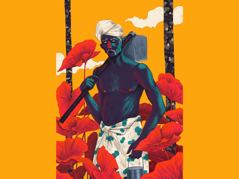 S A T H Y A N series hiwow plants farmer kerala illustration