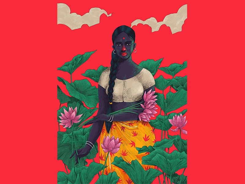 M A A L U woman hiwow lotus kerala folks illustration