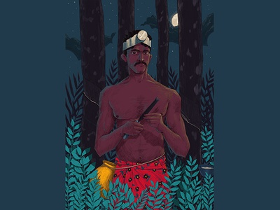 V I J A Y A N night hiwow tapping rubber plant people kerala illustration