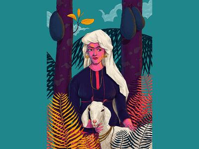 A A M I N A tradition jackfruit kerala woman goat hiwow illustration