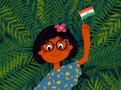 Happy Independence Day hiwow independence happy plants flag girl india illustration