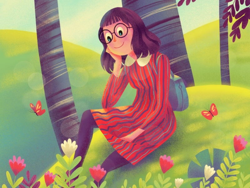 way back home 🏠 cute butterfly garden plants hiwow illustration
