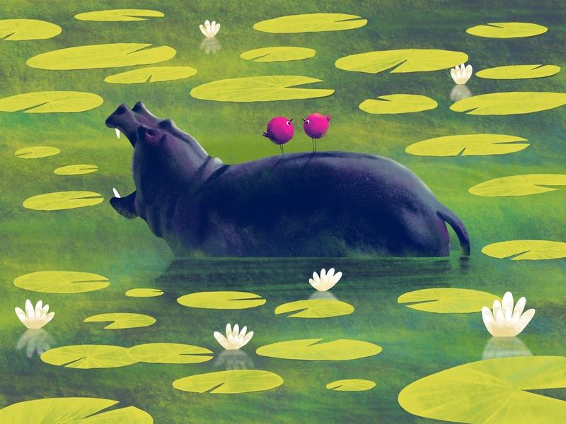 Is it? pond lotus birds hippo illustration