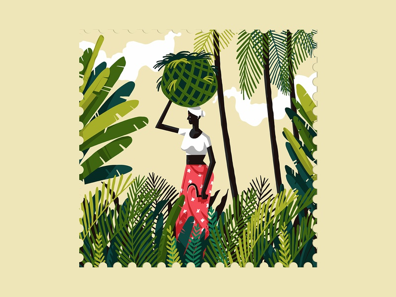 Ode to Kerala plants greenery woman kerala day stamp world illustration