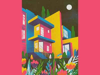 Home 🏠 design flower night garden house series plants architecture home illustration