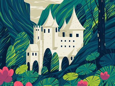 The Castle land king kingdom castle flower plants garden architecture illustration