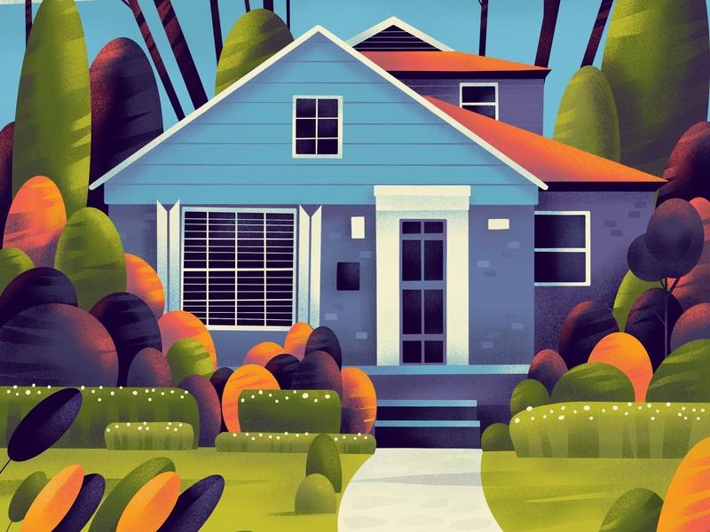 Home 🏠 flower design house garden series plants architecture home illustration