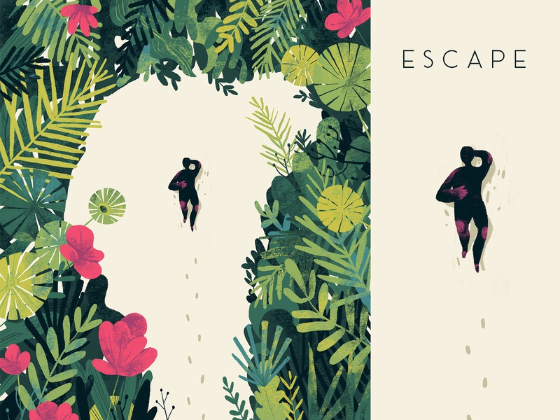 E S C A P E thoughts reality plants hiwow garden love escape illustration