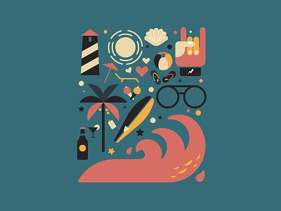 G O A art design waves sea beach vector travel d457 goa hiwow illustration