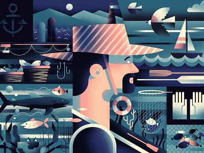 Fisherman 🎣 fish fisherman website series hiwow illustration