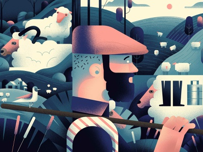 Shepherd 🐑 sheep shepherd design illustration