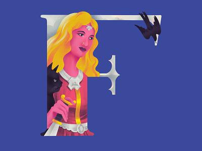 F R E Y J A 36daysoftype f cat goddess freyja illustration