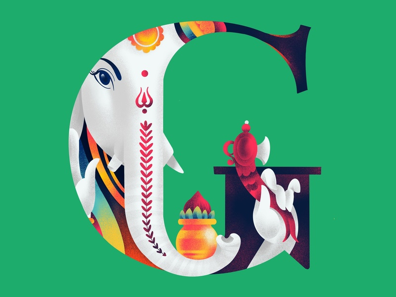 G A N E S H A indian ganesha 36daysoftype illustration